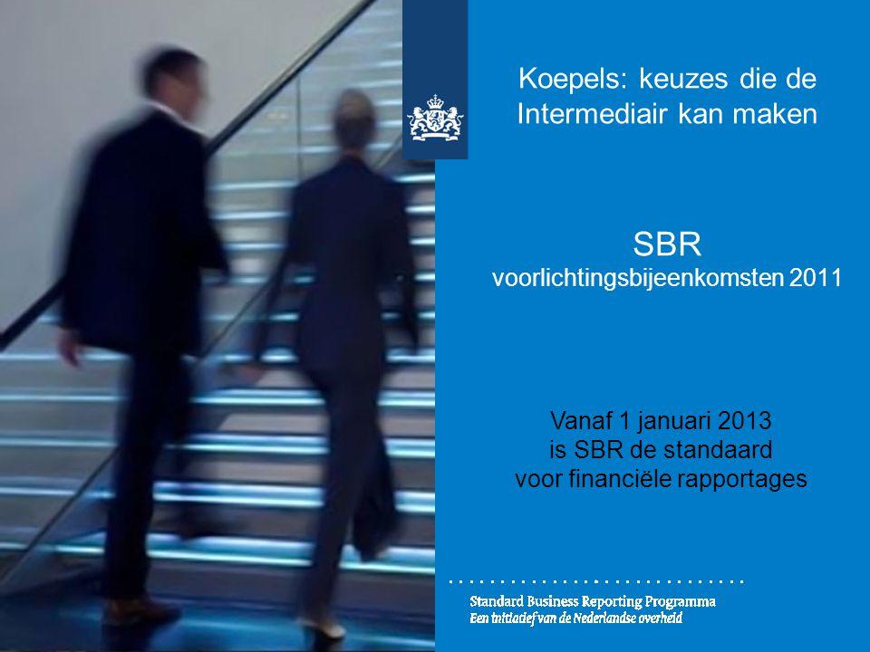 Koepels: keuzes die de Intermediair kan maken SBR voorlichtingsbijeenkomsten 2011 Vanaf 1 januari 2013 is SBR de standaard voor financiële rapportages