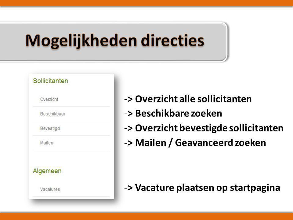 -> Overzicht alle sollicitanten -> Beschikbare zoeken -> Overzicht bevestigde sollicitanten -> Mailen / Geavanceerd zoeken -> Vacature plaatsen op startpagina