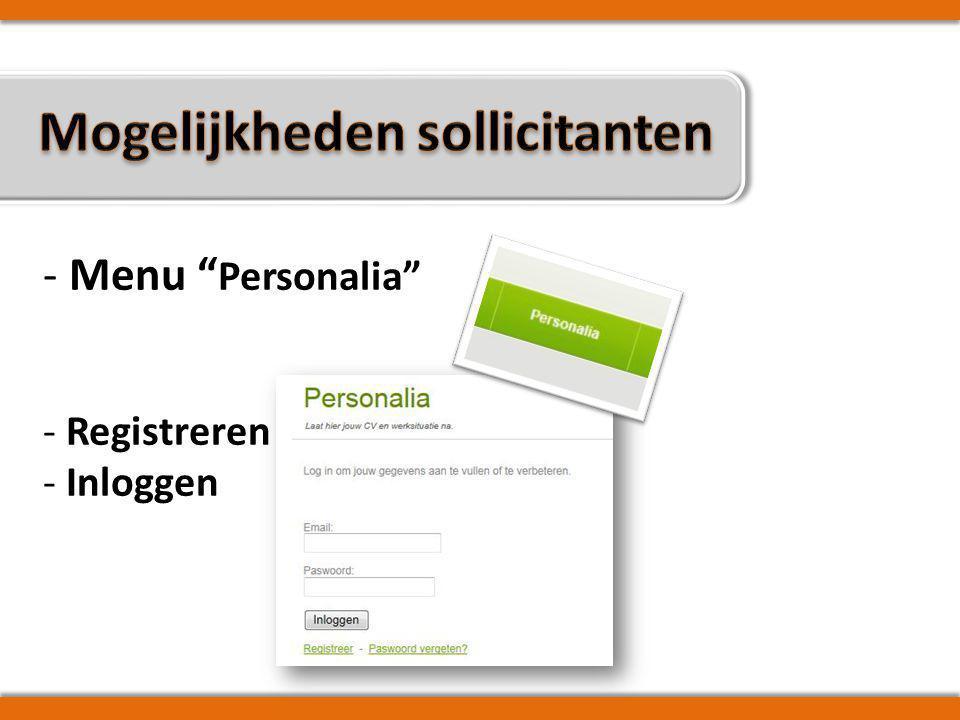 -> Personalia wijzigen -> Ambten toevoegen/verwijderen -> CV (her)opladen -> Werksituatie aanpassen -> Werksituatie bevestigen