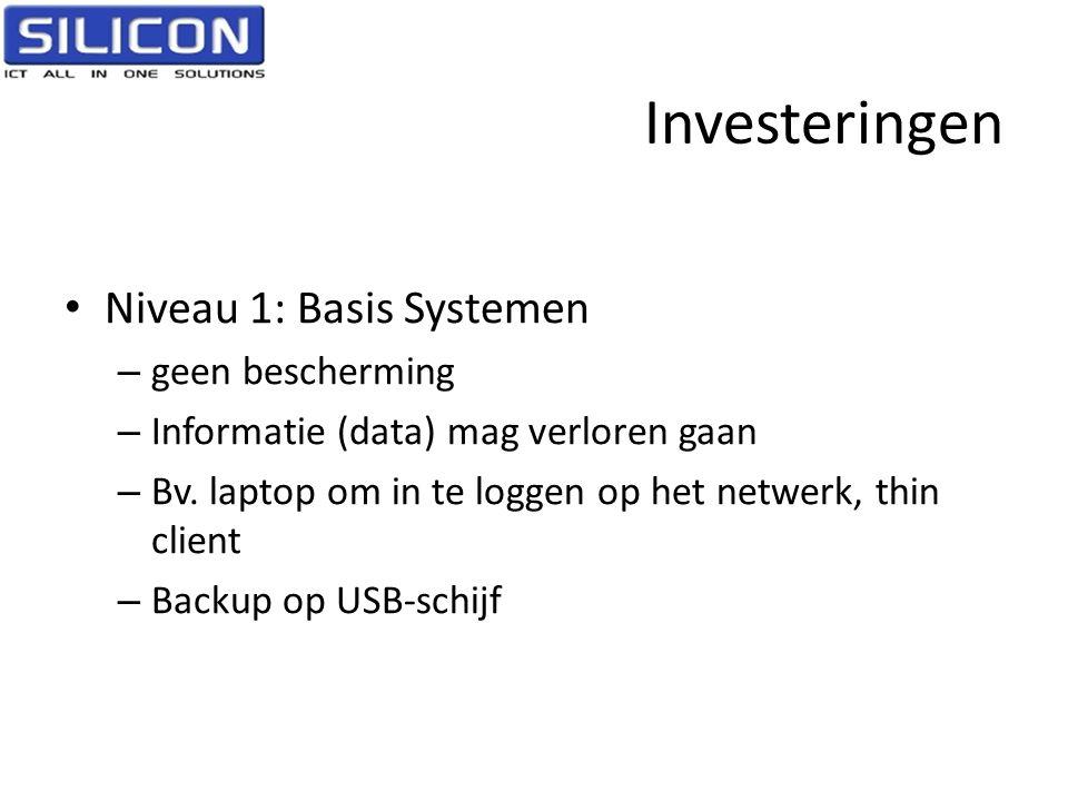Investeringen • Niveau 1: Basis Systemen – geen bescherming – Informatie (data) mag verloren gaan – Bv. laptop om in te loggen op het netwerk, thin cl