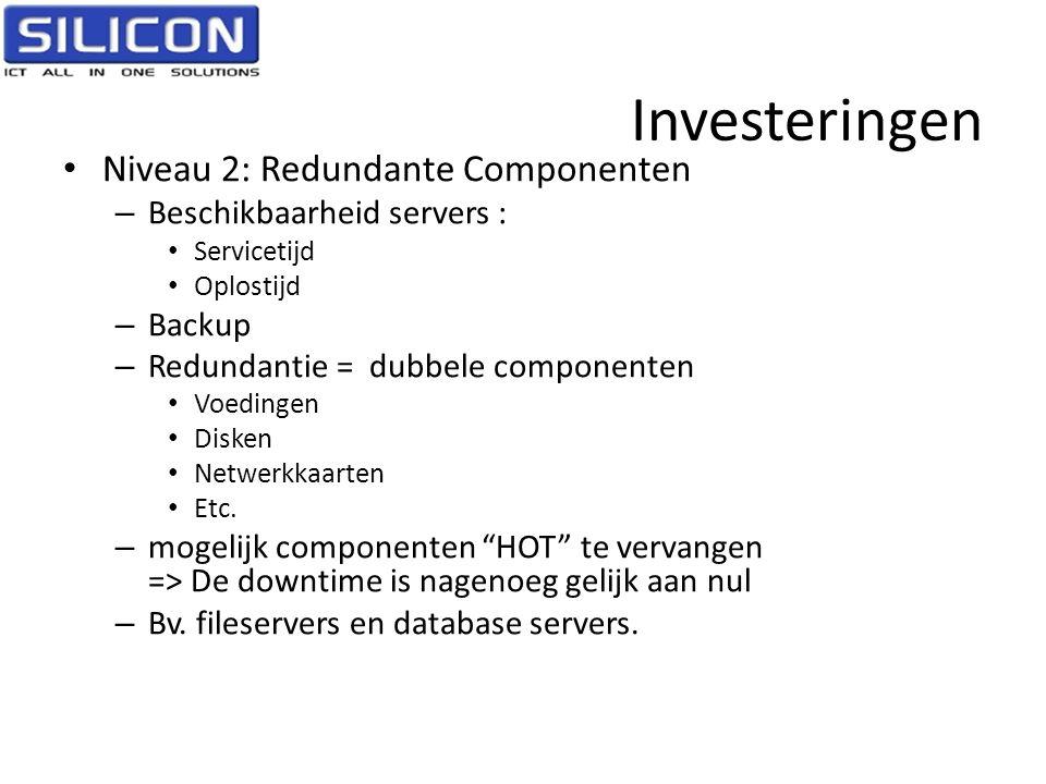 Investeringen • Niveau 2: Redundante Componenten – Beschikbaarheid servers : • Servicetijd • Oplostijd – Backup – Redundantie = dubbele componenten •