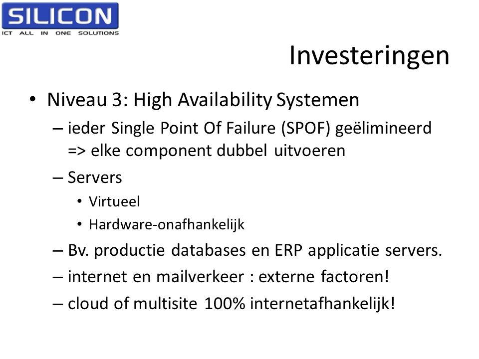 Investeringen • Niveau 3: High Availability Systemen – ieder Single Point Of Failure (SPOF) geëlimineerd => elke component dubbel uitvoeren – Servers