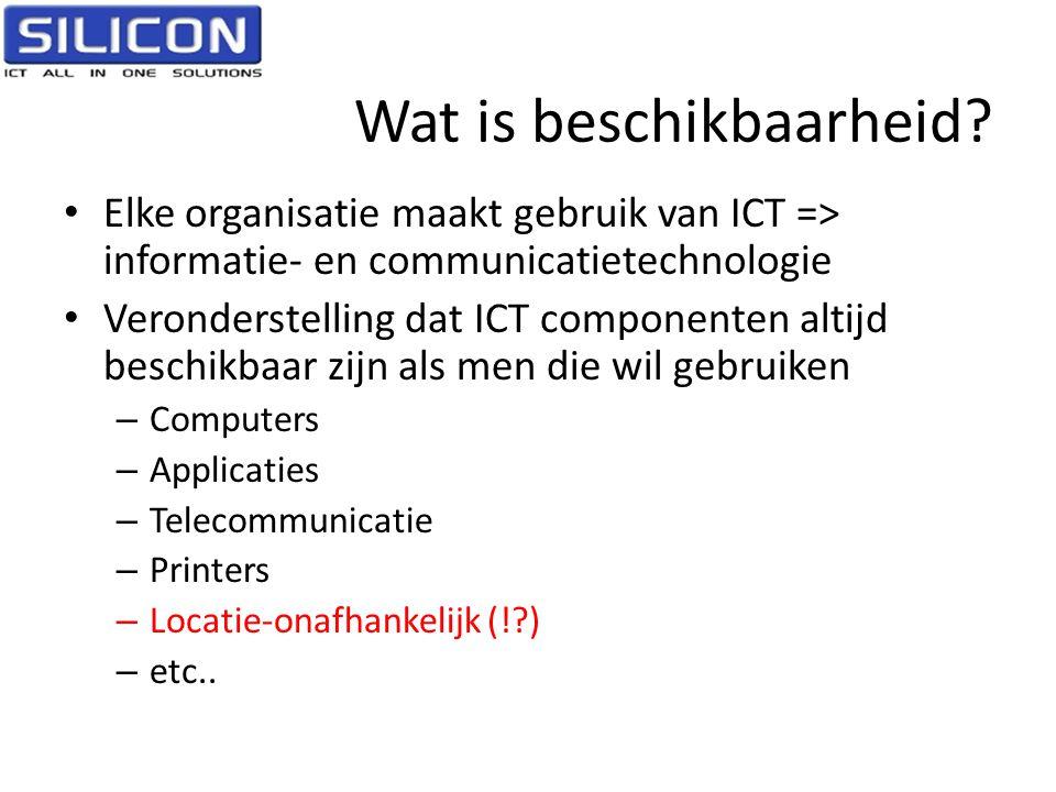 Wat is beschikbaarheid? • Elke organisatie maakt gebruik van ICT => informatie- en communicatietechnologie • Veronderstelling dat ICT componenten alti