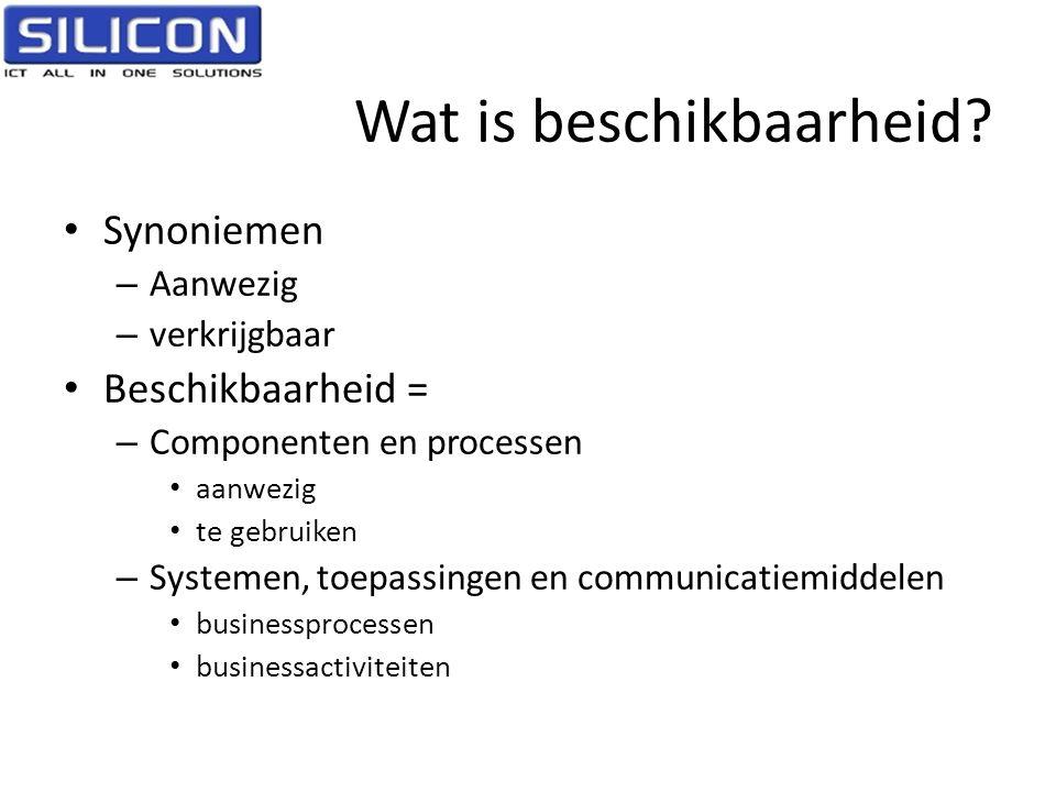 Wat is beschikbaarheid? • Synoniemen – Aanwezig – verkrijgbaar • Beschikbaarheid = – Componenten en processen • aanwezig • te gebruiken – Systemen, to