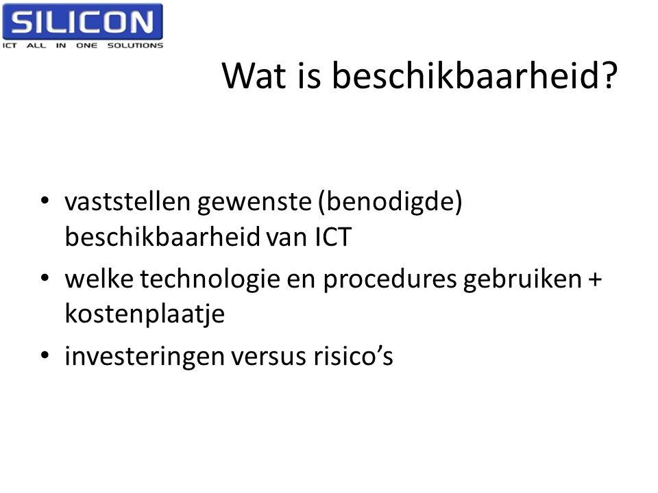 Wat is beschikbaarheid? • vaststellen gewenste (benodigde) beschikbaarheid van ICT • welke technologie en procedures gebruiken + kostenplaatje • inves
