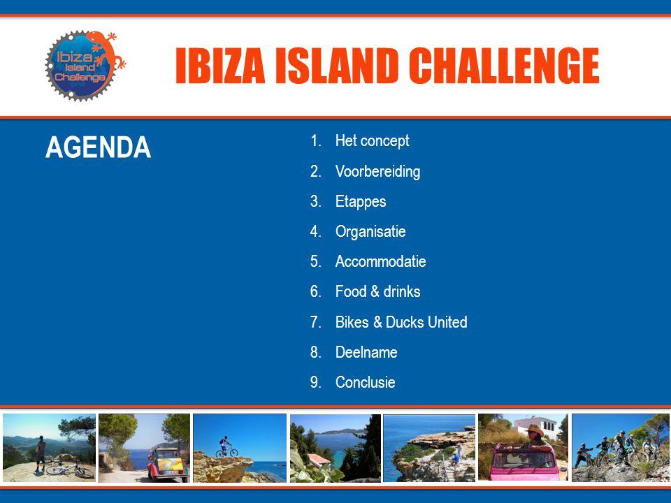 IBIZA ISLAND CHALLENGE 1.Uitzonderlijke mountainbike challenge in een betoverend kader 2.Navigatie ( GPS ) 3.80% off road / 20% on road 4.Gravel pistes / single tracks / forest/ beach / rocky downhill 5.Exclusive sunset diner locations 6.Keywords: adrenaline, fun, sun, sea & sensation CONCEPT