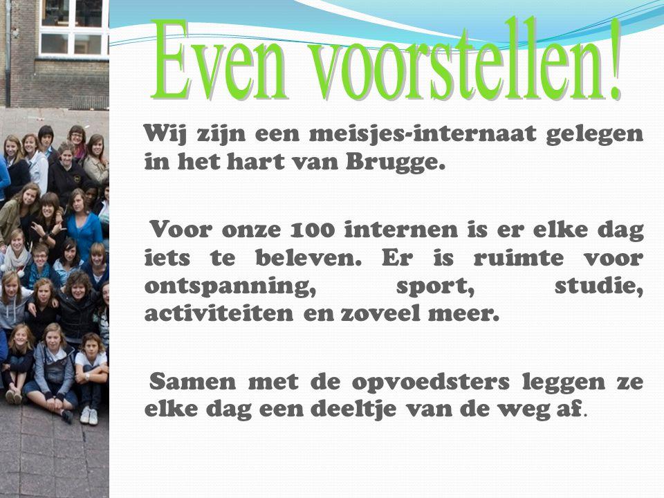 Wij zijn een meisjes-internaat gelegen in het hart van Brugge. Voor onze 100 internen is er elke dag iets te beleven. Er is ruimte voor ontspanning, s
