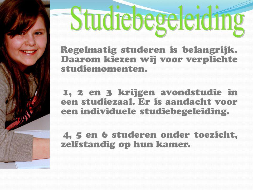 Regelmatig studeren is belangrijk. Daarom kiezen wij voor verplichte studiemomenten. 1, 2 en 3 krijgen avondstudie in een studiezaal. Er is aandacht v