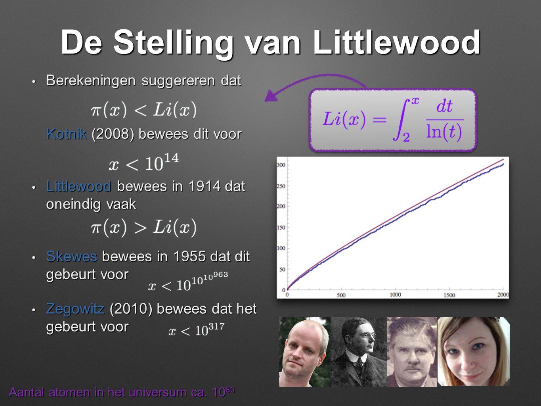 De Stelling van Littlewood • Berekeningen suggereren dat Kotnik (2008) bewees dit voor • Littlewood bewees in 1914 dat oneindig vaak • Skewes bewees i