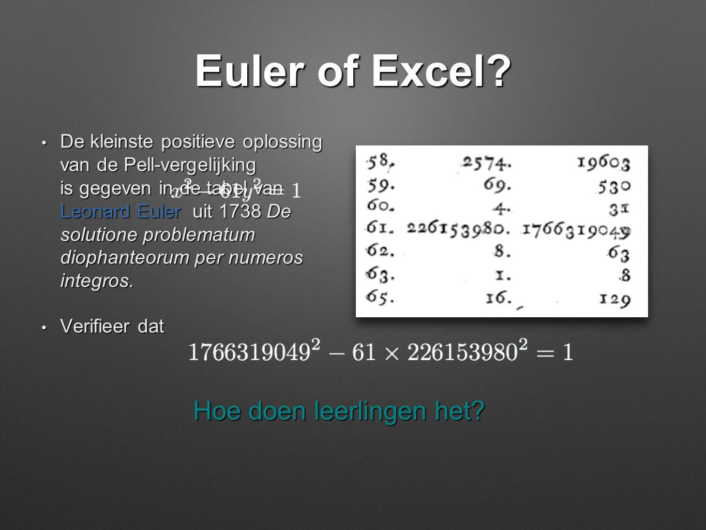 Euler of Excel? • De kleinste positieve oplossing van de Pell-vergelijking is gegeven in de tabel van Leonard Euler uit 1738 De solutione problematum
