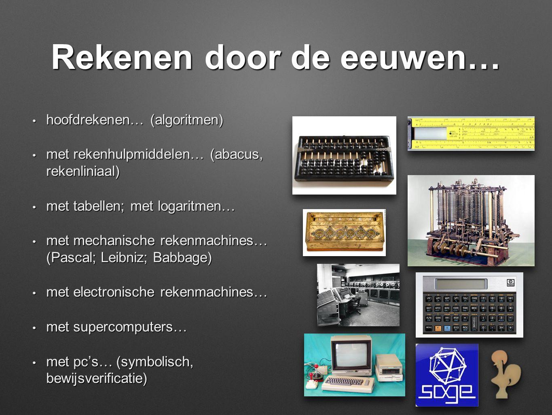 Rekenen door de eeuwen… • hoofdrekenen… (algoritmen) • met rekenhulpmiddelen… (abacus, rekenliniaal) • met tabellen; met logaritmen… • met mechanische