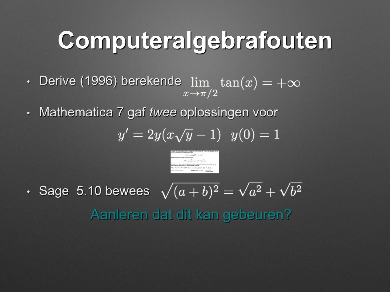 Computeralgebrafouten • Derive (1996) berekende • Mathematica 7 gaf twee oplossingen voor • Sage 5.10 bewees Aanleren dat dit kan gebeuren?