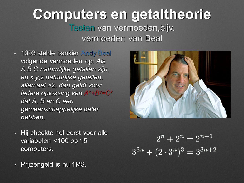 • 1993 stelde bankier Andy Beal volgende vermoeden op: Als A,B,C natuurlijke getallen zijn, en x,y,z natuurlijke getallen, allemaal >2, dan geldt voor