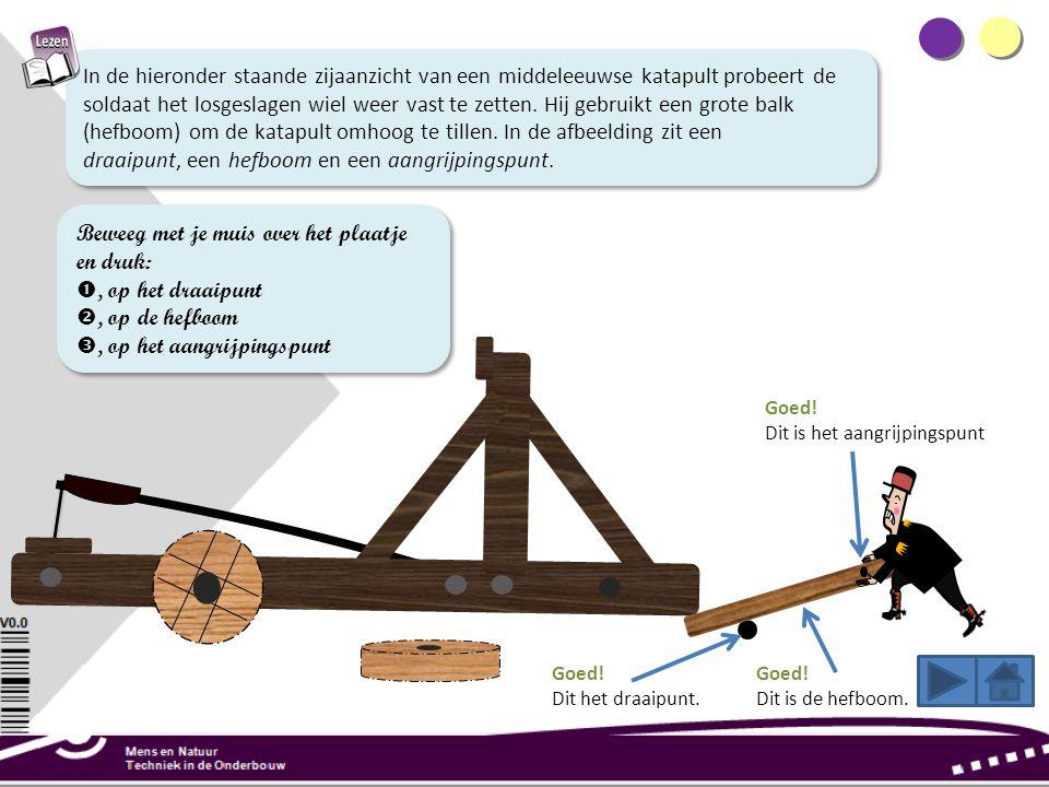 In de hieronder staande zijaanzicht van een middeleeuwse katapult probeert de soldaat het losgeslagen wiel weer vast te zetten.