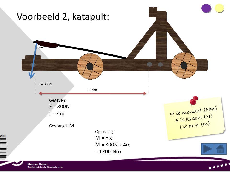 Voorbeeld 2, katapult: L = 4m F = 300N Gegeven: F = 300N L = 4m Gevraagd : M Oplossing: M = F x l M = 300N x 4m = 1200 Nm M is moment (Nm) F is kracht (N) l is arm (m) M is moment (Nm) F is kracht (N) l is arm (m) L