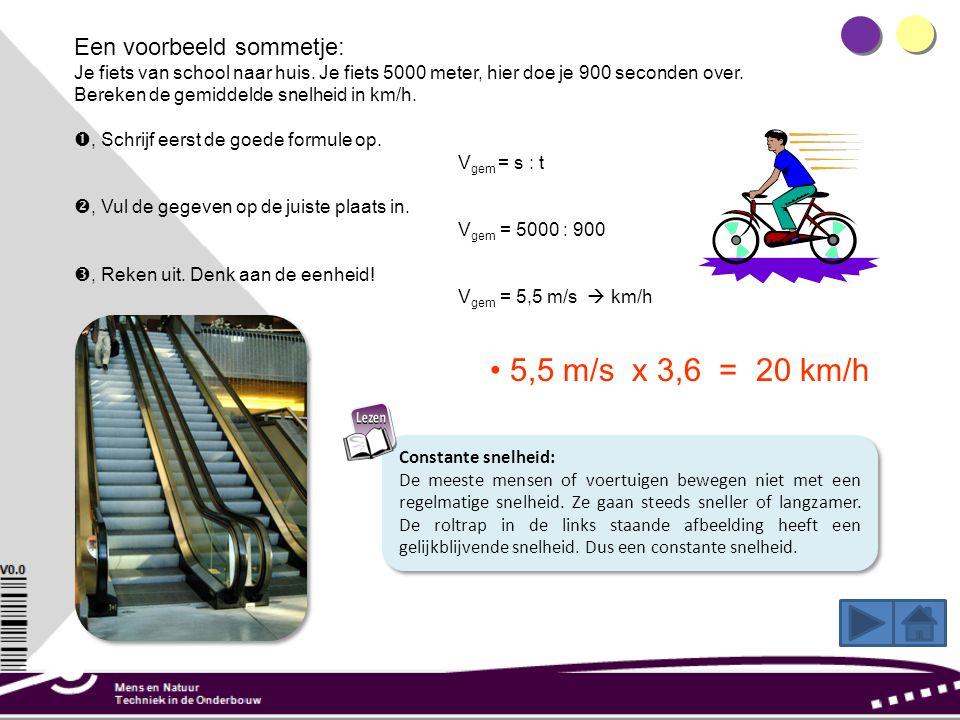 Een voorbeeld sommetje: Je fiets van school naar huis.