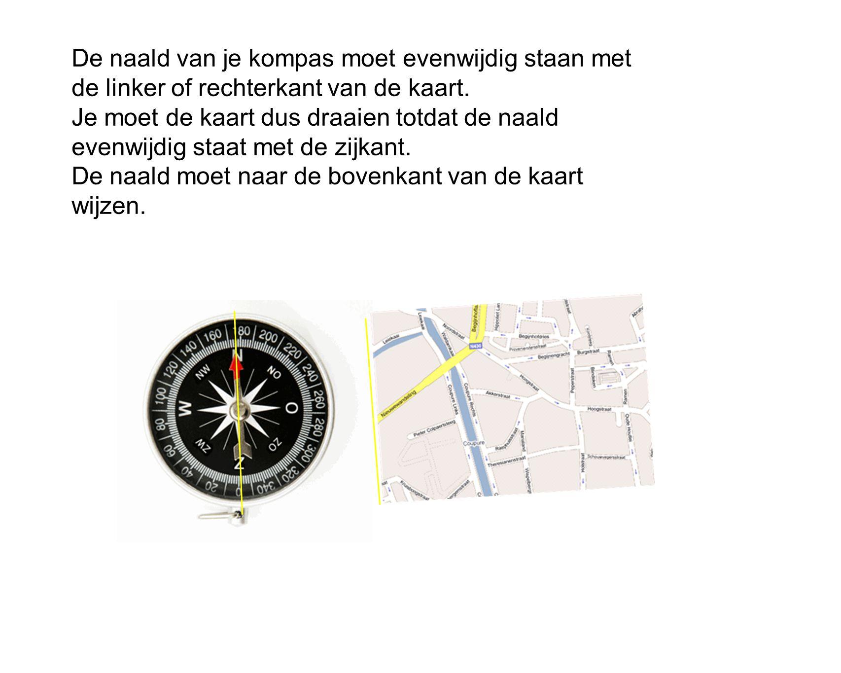 De naald van je kompas moet evenwijdig staan met de linker of rechterkant van de kaart. Je moet de kaart dus draaien totdat de naald evenwijdig staat