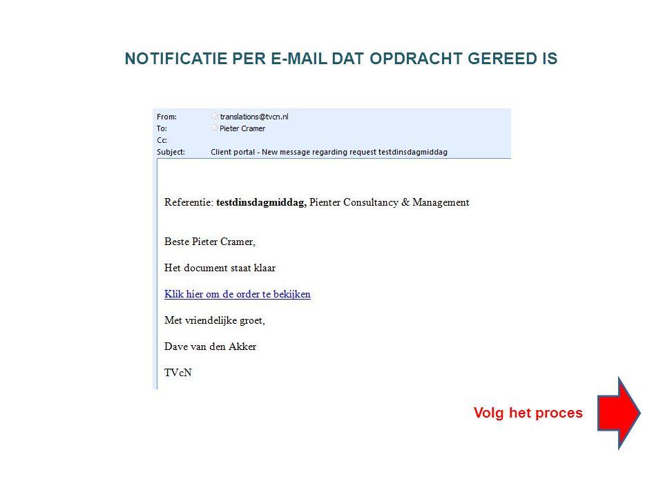 NOTIFICATIE PER E-MAIL DAT OPDRACHT GEREED IS Volg het proces