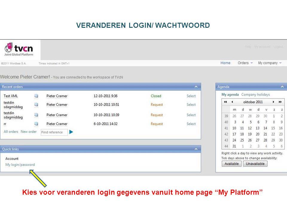 Kies voor veranderen login gegevens vanuit home page My Platform VERANDEREN LOGIN/ WACHTWOORD
