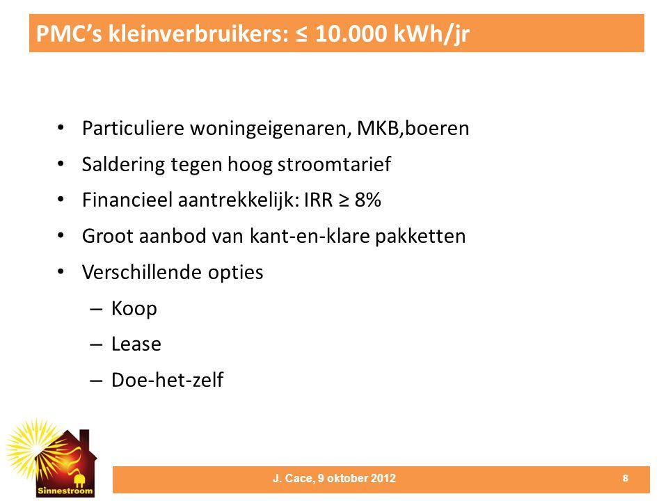 PMC's kleinverbruikers: ≤ 10.000 kWh/jr • Particuliere woningeigenaren, MKB,boeren • Saldering tegen hoog stroomtarief • Financieel aantrekkelijk: IRR ≥ 8% • Groot aanbod van kant-en-klare pakketten • Verschillende opties – Koop – Lease – Doe-het-zelf 8 J.