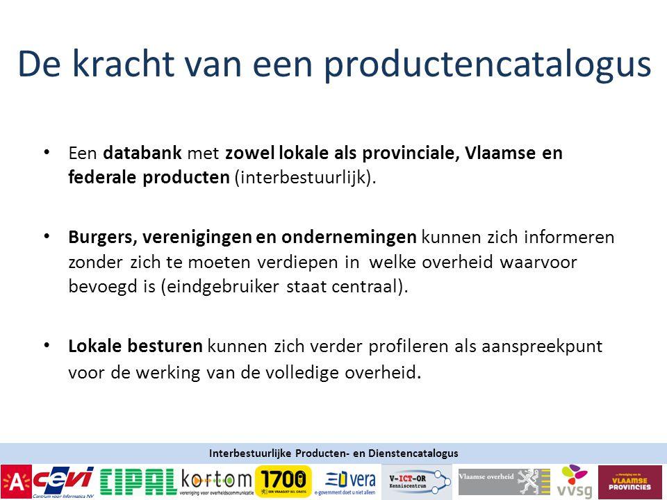 Interbestuurlijke Producten- en Dienstencatalogus • Een databank met zowel lokale als provinciale, Vlaamse en federale producten (interbestuurlijk).
