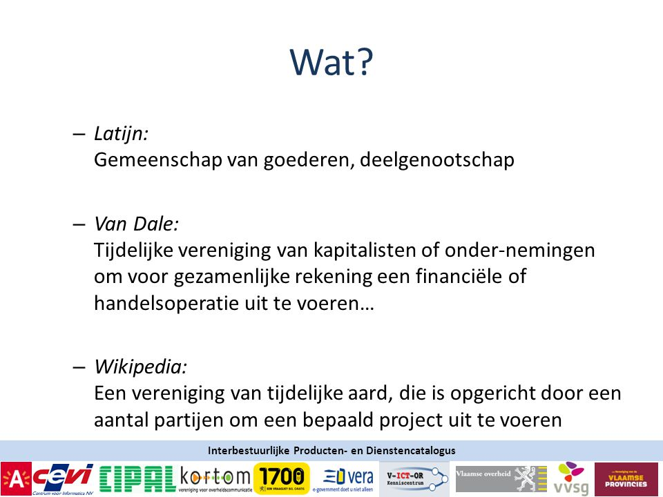 Interbestuurlijke Producten- en Dienstencatalogus Wat.
