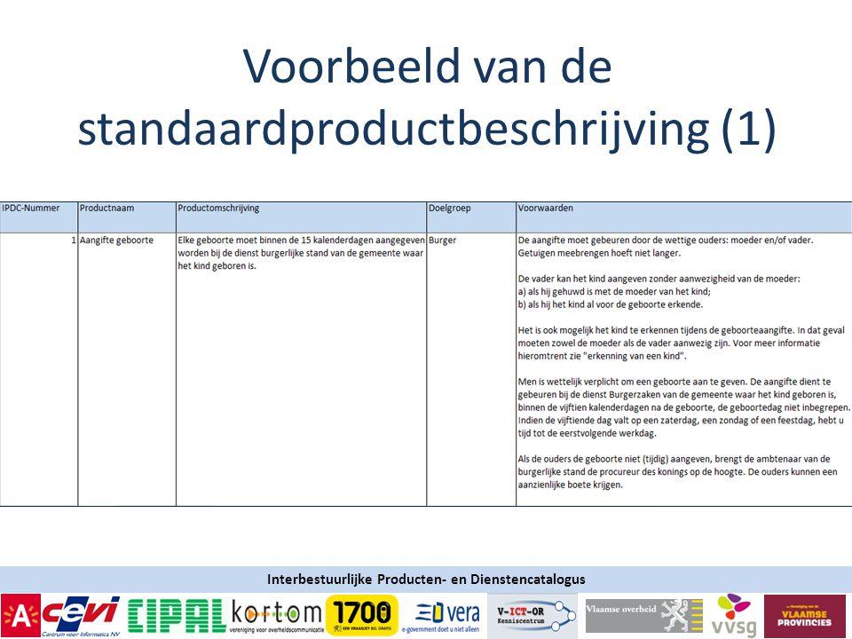 Interbestuurlijke Producten- en Dienstencatalogus Voorbeeld van de standaardproductbeschrijving (1)