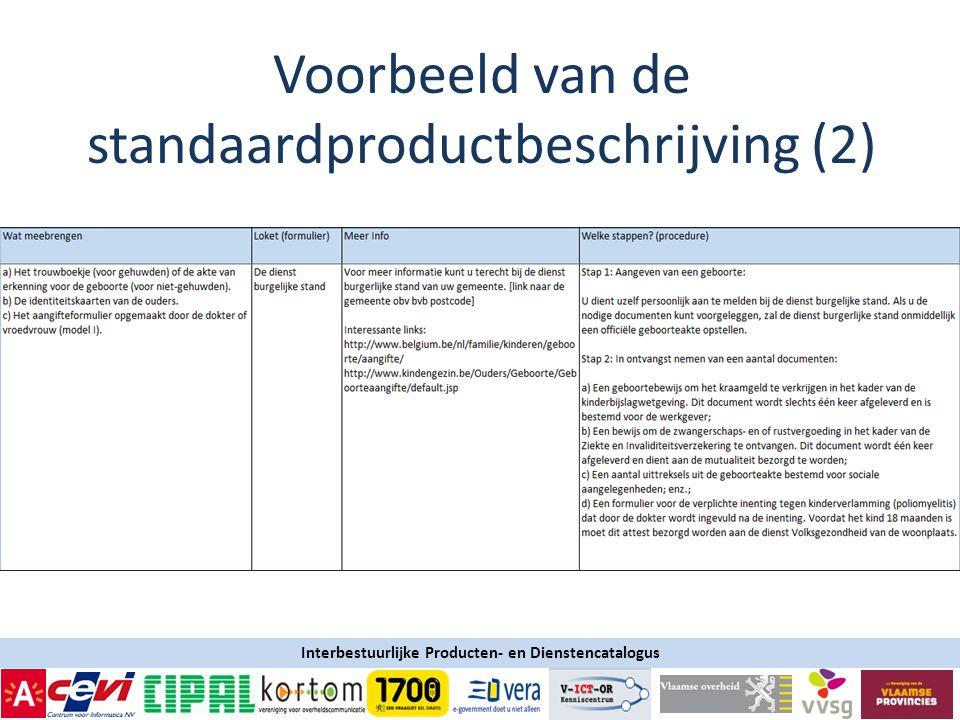 Interbestuurlijke Producten- en Dienstencatalogus Voorbeeld van de standaardproductbeschrijving (2)