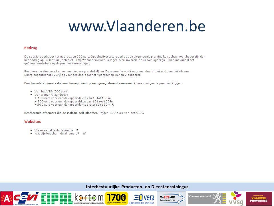 Interbestuurlijke Producten- en Dienstencatalogus www.Vlaanderen.be