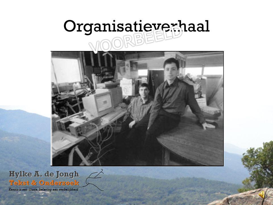 Organisatieverhaal • Gegroeid, niet bedacht; • Verhaal van bij koffieapparaat; • Opvallende schets van ontwikkeling of gebeurtenis; • Wat tekent de organisatie.