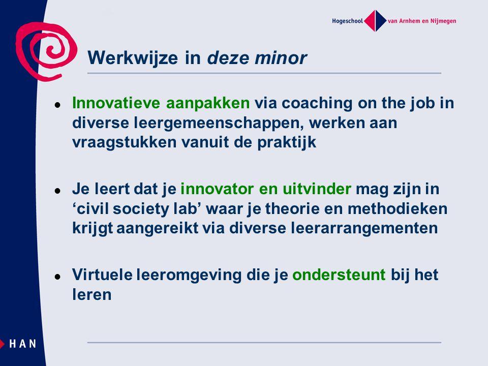 Werkwijze in deze minor  Innovatieve aanpakken via coaching on the job in diverse leergemeenschappen, werken aan vraagstukken vanuit de praktijk  Je