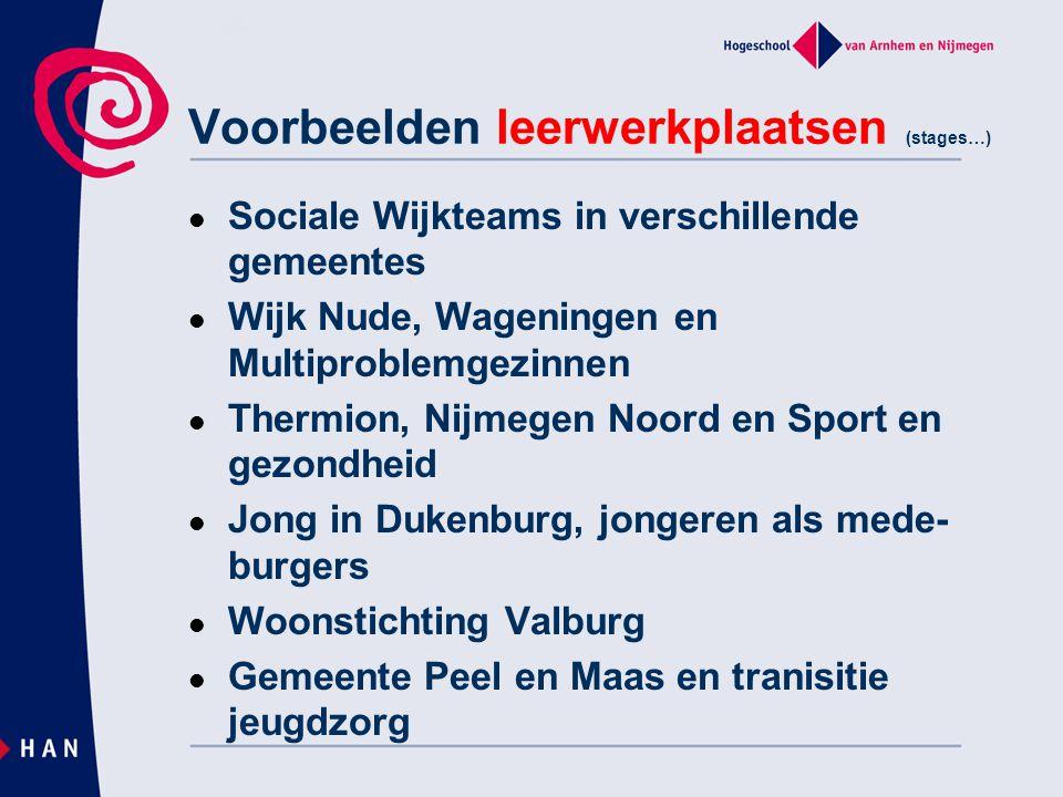 Voorbeelden leerwerkplaatsen (stages…)  Sociale Wijkteams in verschillende gemeentes  Wijk Nude, Wageningen en Multiproblemgezinnen  Thermion, Nijmegen Noord en Sport en gezondheid  Jong in Dukenburg, jongeren als mede- burgers  Woonstichting Valburg  Gemeente Peel en Maas en tranisitie jeugdzorg