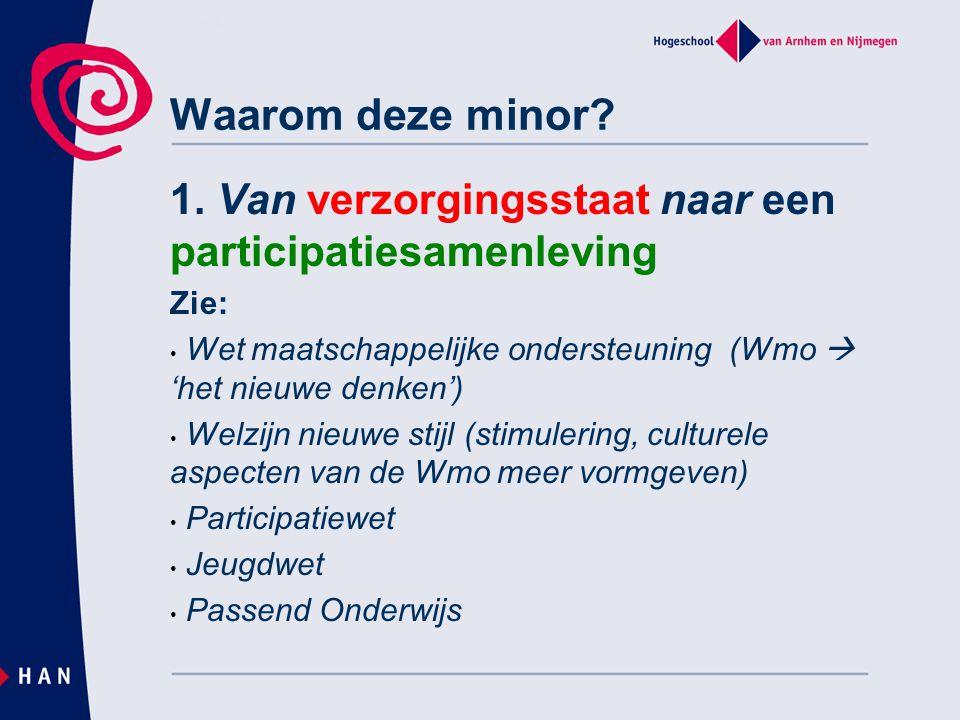 Waarom deze minor? 1. Van verzorgingsstaat naar een participatiesamenleving Zie: • Wet maatschappelijke ondersteuning (Wmo  'het nieuwe denken') • We