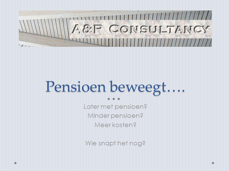 Pensioen beweegt…. Later met pensioen? Minder pensioen? Meer kosten? Wie snapt het nog?