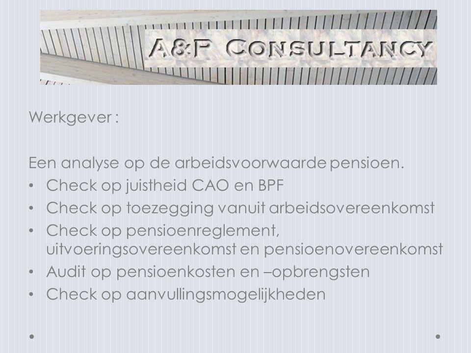 Werkgever : Een analyse op de arbeidsvoorwaarde pensioen.