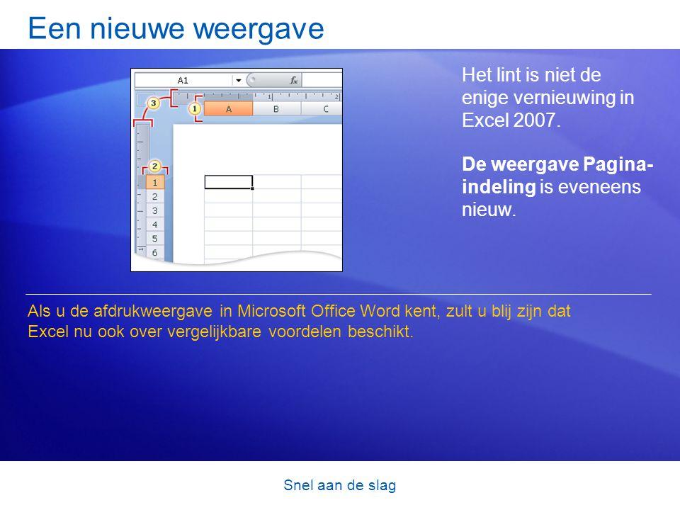Snel aan de slag Een nieuwe weergave Het lint is niet de enige vernieuwing in Excel 2007. De weergave Pagina- indeling is eveneens nieuw. Als u de afd
