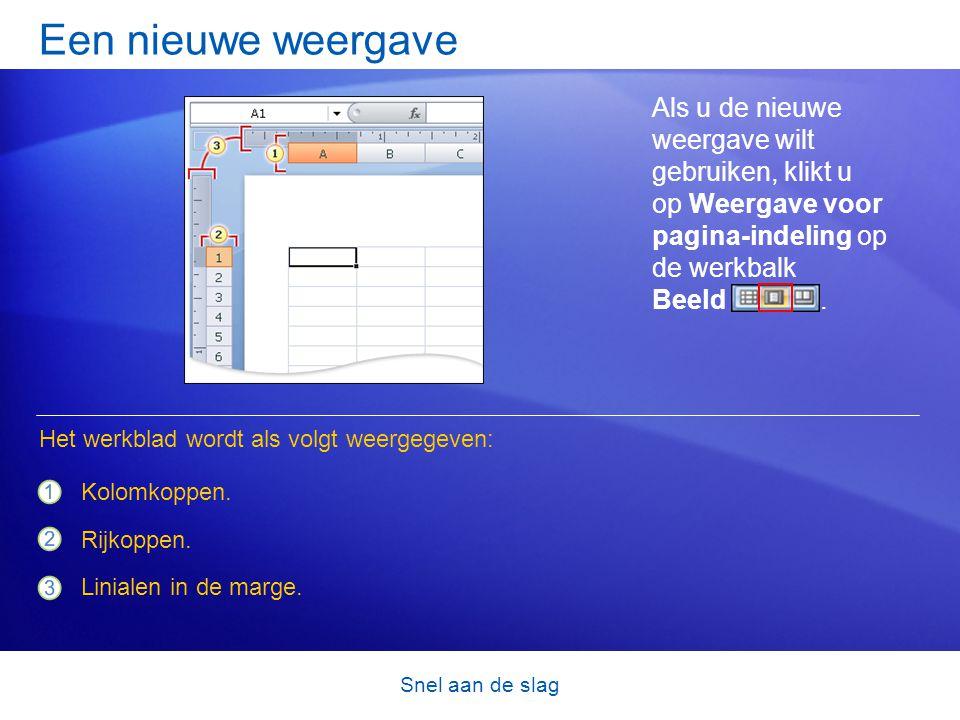 Snel aan de slag Een nieuwe weergave Als u de nieuwe weergave wilt gebruiken, klikt u op Weergave voor pagina-indeling op de werkbalk Beeld. Kolomkopp