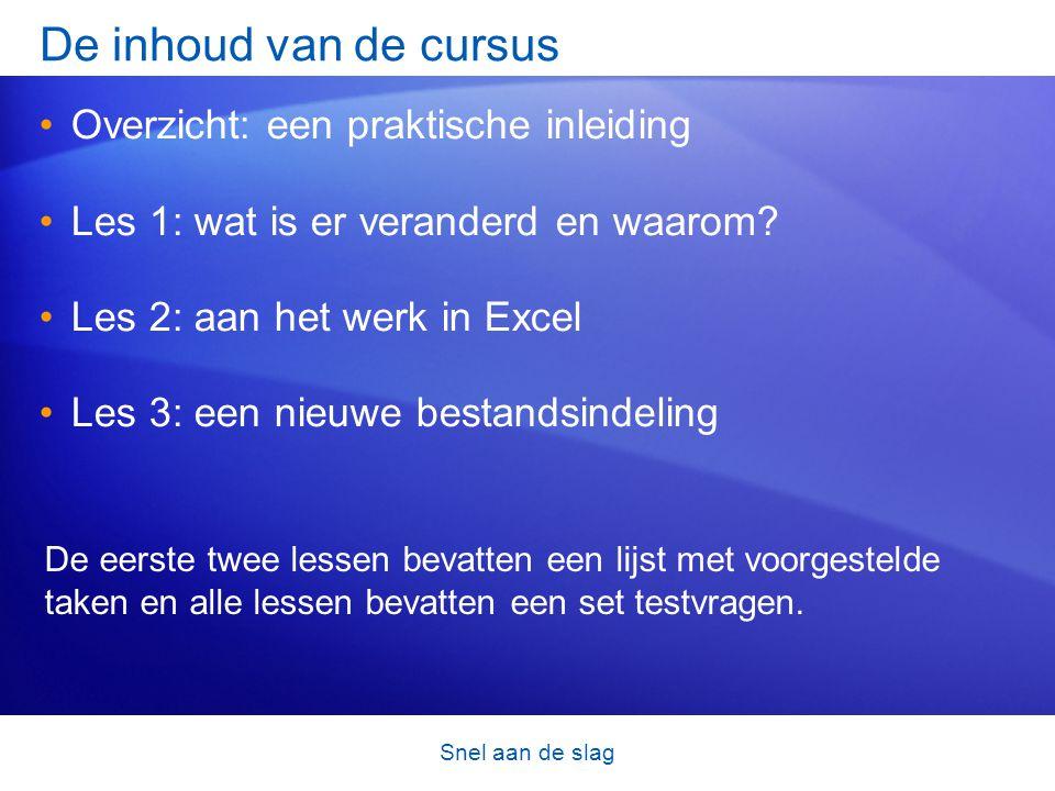 Snel aan de slag De inhoud van de cursus •Overzicht: een praktische inleiding •Les 1: wat is er veranderd en waarom? •Les 2: aan het werk in Excel •Le