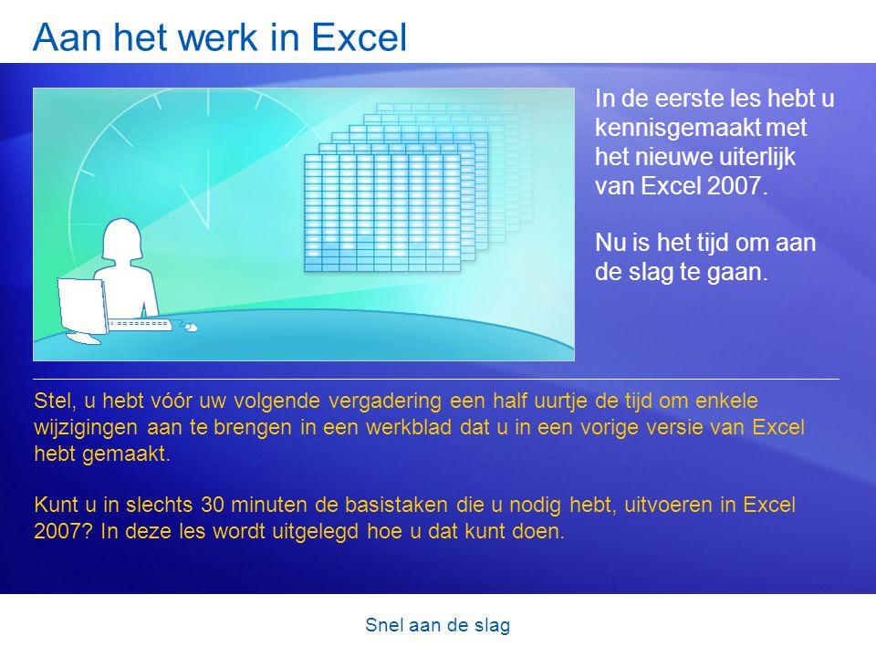 Snel aan de slag Aan het werk in Excel In de eerste les hebt u kennisgemaakt met het nieuwe uiterlijk van Excel 2007. Nu is het tijd om aan de slag te