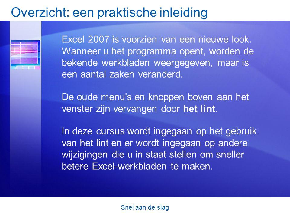 Snel aan de slag Overzicht: een praktische inleiding Excel 2007 is voorzien van een nieuwe look. Wanneer u het programma opent, worden de bekende werk
