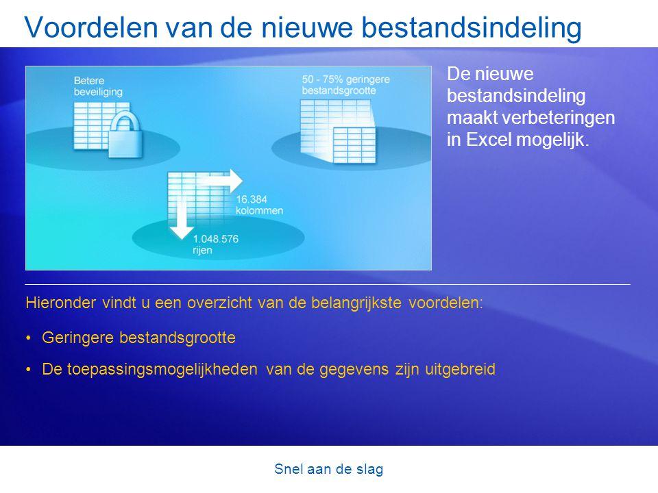 Snel aan de slag Voordelen van de nieuwe bestandsindeling De nieuwe bestandsindeling maakt verbeteringen in Excel mogelijk. •Geringere bestandsgrootte