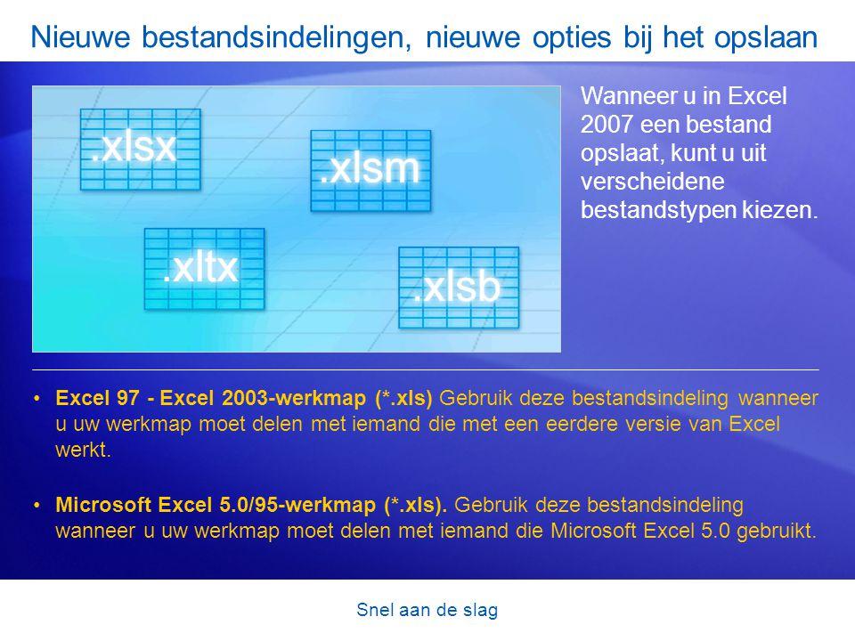 Snel aan de slag Nieuwe bestandsindelingen, nieuwe opties bij het opslaan Wanneer u in Excel 2007 een bestand opslaat, kunt u uit verscheidene bestand