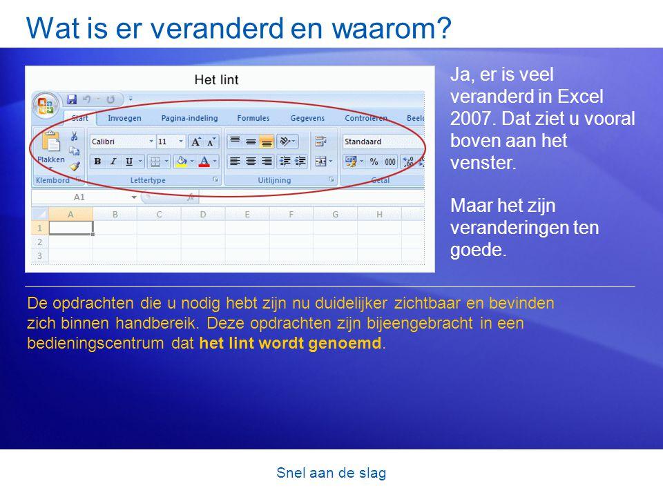 Snel aan de slag Wat is er veranderd en waarom? Ja, er is veel veranderd in Excel 2007. Dat ziet u vooral boven aan het venster. Maar het zijn verande