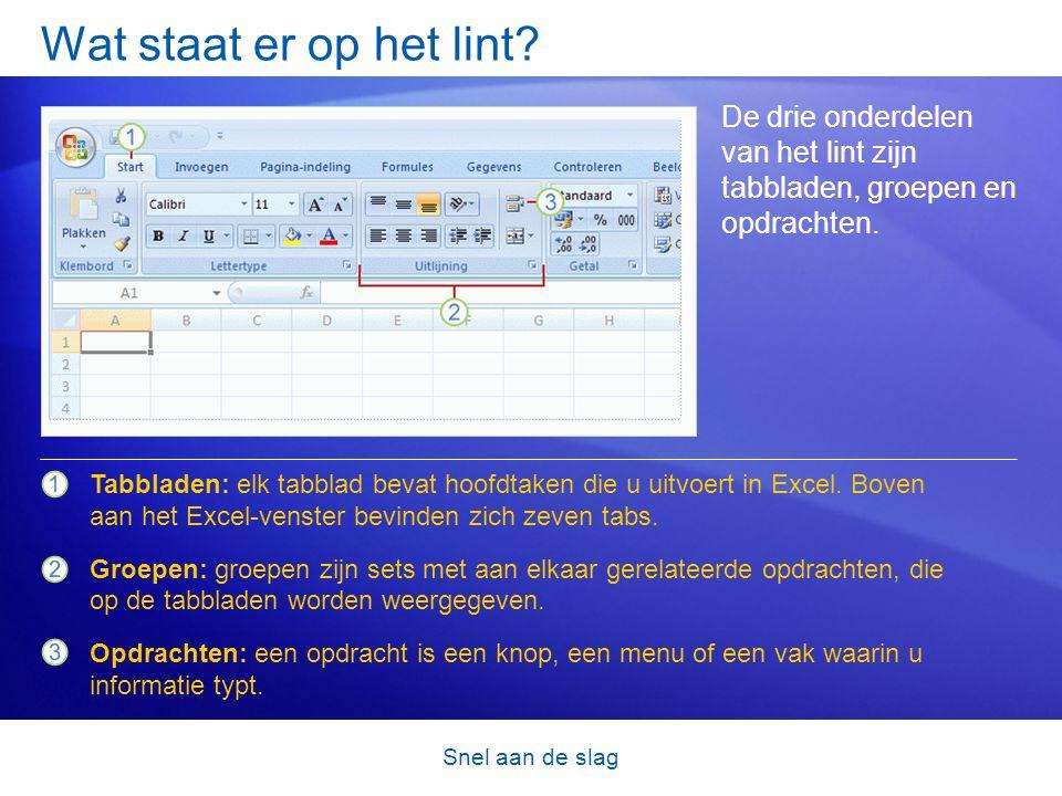 Snel aan de slag Aan het werk in Excel In de eerste les hebt u kennisgemaakt met het nieuwe uiterlijk van Excel 2007.