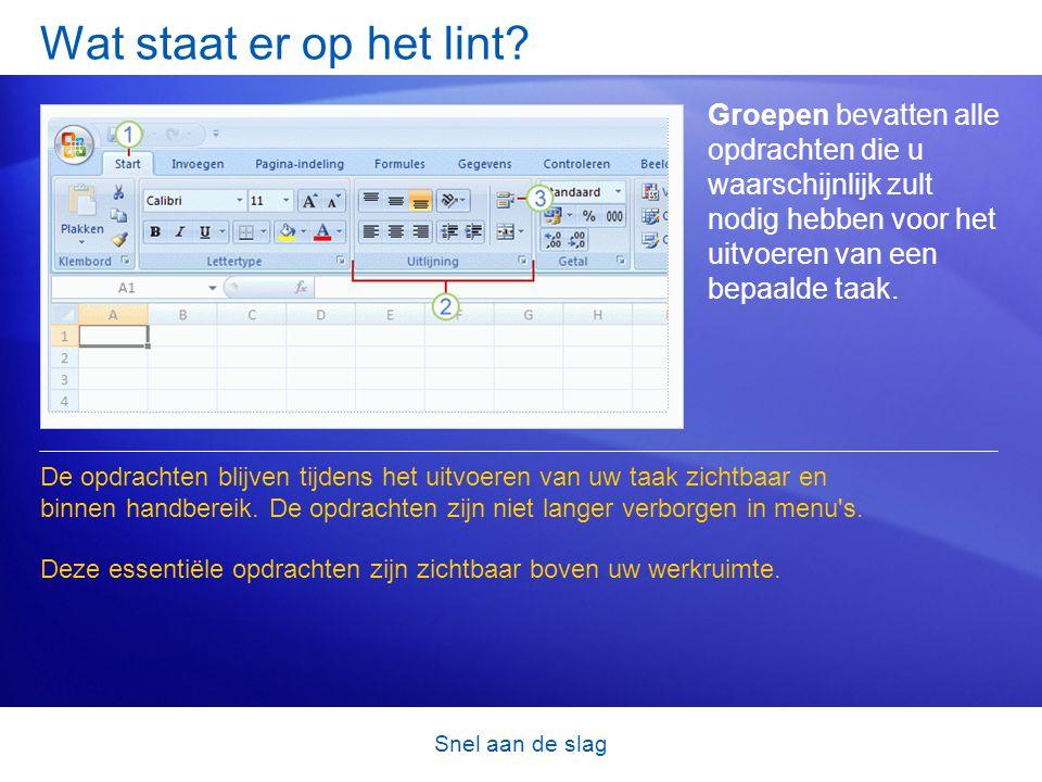 Snel aan de slag Een nieuwe bestandsindeling Excel heeft een nieuwe bestandsindeling.