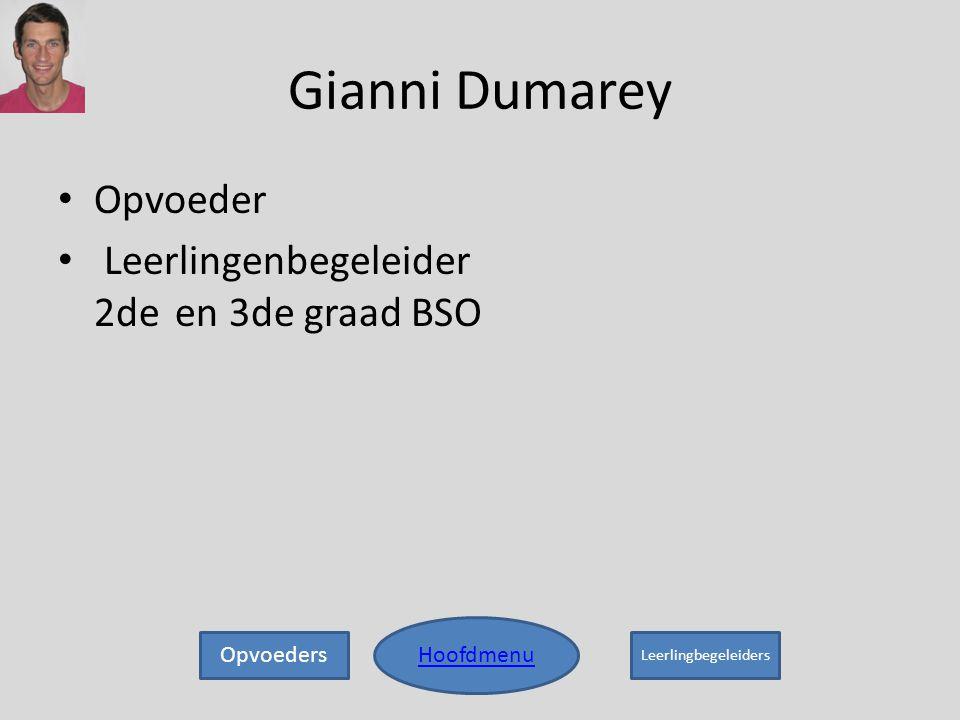 Gianni Dumarey • Opvoeder • Leerlingenbegeleider 2de en 3de graad BSO Hoofdmenu Opvoeders Leerlingbegeleiders