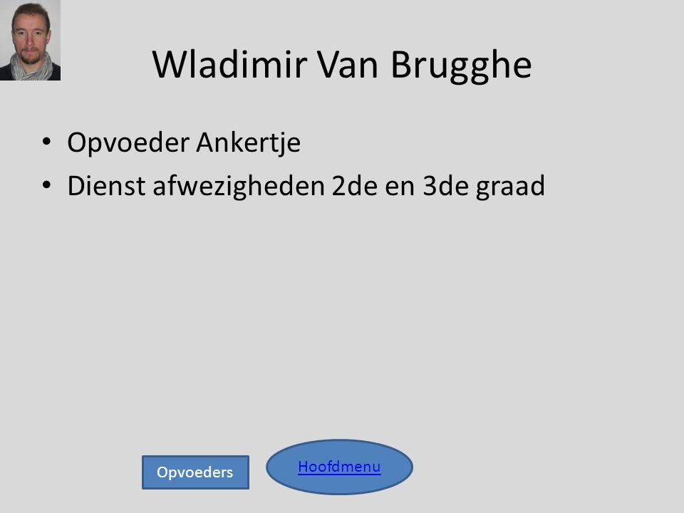 Wladimir Van Brugghe • Opvoeder Ankertje • Dienst afwezigheden 2de en 3de graad Hoofdmenu Opvoeders