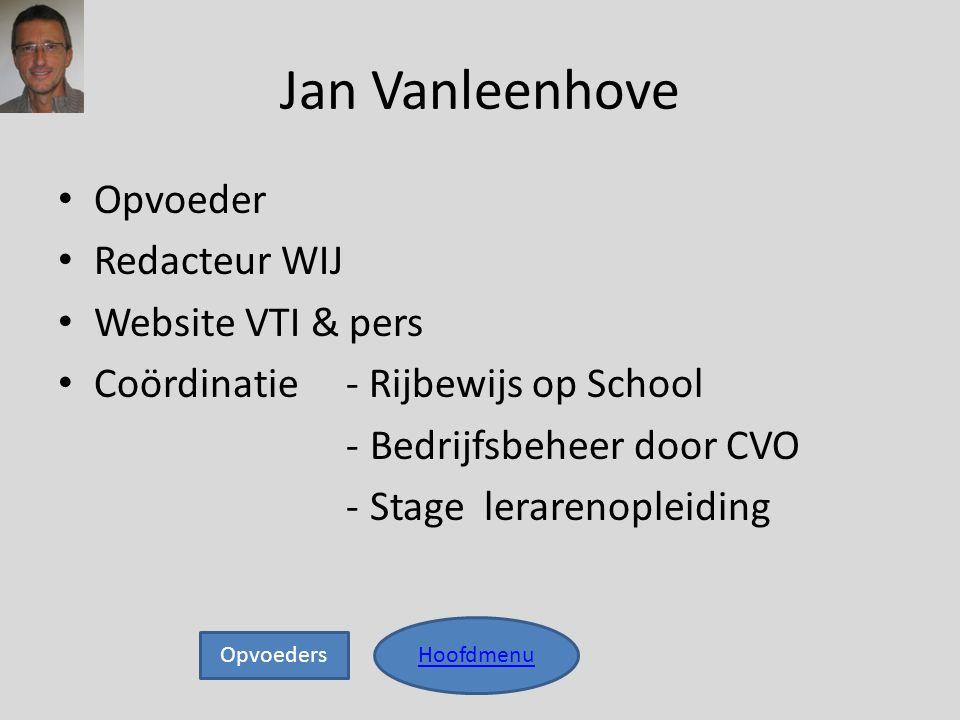 Jan Vanleenhove • Opvoeder • Redacteur WIJ • Website VTI & pers • Coördinatie - Rijbewijs op School -Bedrijfsbeheer door CVO -Stage lerarenopleiding H