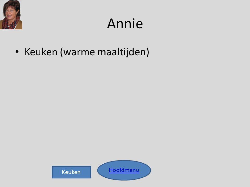 Annie • Keuken (warme maaltijden) Hoofdmenu Keuken