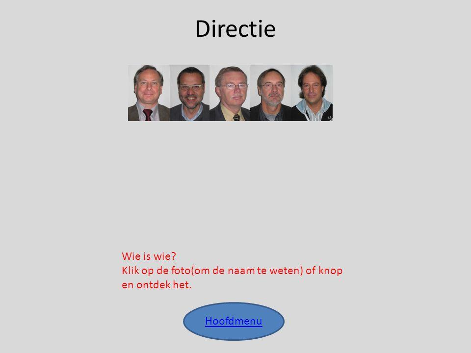 Directie Hoofdmenu Wie is wie? Klik op de foto(om de naam te weten) of knop en ontdek het.